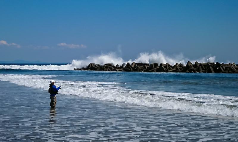 海に入り釣りを楽しむ人がいた。眼の前には白い波しぶきも見える。荒浜を襲った津波は人を海から遠ざけた。あれから8年が経ち、海から離れていた人が戻りつつある。