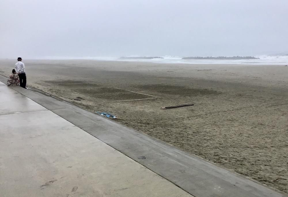 防潮堤から望む深沼海岸